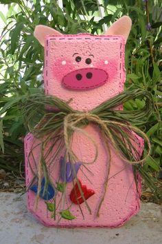 Percy Pig Patio Person Garden Art Gift by SunburstOutdoorDecor Painted Bricks Crafts, Brick Crafts, Painted Pavers, Stone Crafts, Painted Rocks, Garden Pavers, Cement Garden, Crafts To Make, Diy Crafts