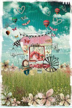 by pupetuá. ❣Julianne McPeters❣ no pin limits Art And Illustration, Illustration Mignonne, Illustrations Posters, Art Fantaisiste, Ouvrages D'art, Whimsical Art, Medium Art, Pretty Pictures, Folk Art