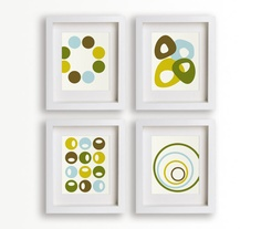 Mid Century Modern Circle Art Prints  Set of Four by NikoAndLily