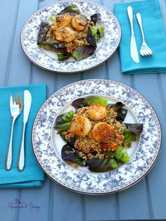 Buckwheat & Scallop Salad with Fresh Orange Dressing