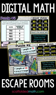 Digital math escape rooms for middle school and high school math. These math escape rooms were designed for remote learning days when students are learning online or when students are back in your classroom and you'd just like to save paper. Each was built in Google Forms, giving you access to your student data. Middle School, High School, 7th Grade Math, Student Data, Maths Puzzles, Escape Room, Teaching Math, Remote, Students