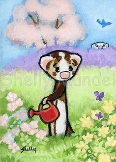 Ferret Art ACEO print  Garden Weasels 2A  by ShellyMundelArt