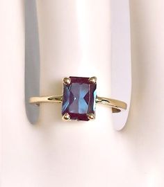 COLOR CHANGING! Emerald Shape Lab Alexandrite Ring.. Come N get it! Alexandrite Jewelry, Gemstone Jewelry, Jewelry Rings, Jewelery, Jewelry Accessories, Hammered Silver, Silver Rings, Alternative Wedding Rings, Anniversary Jewelry