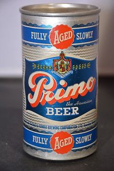 PRIMO BEER , Honolulu Hawaii , Schlitz Brewing Co ~ 1958 / short lived all aluminum flat top