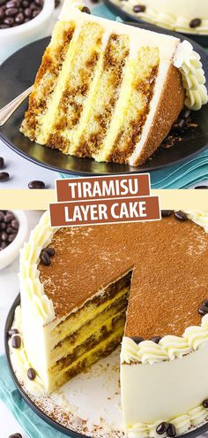 Tiramisu Layer Cake - layers of moist vanilla cake, espresso and kahlua, tiramisu filling and mascarpone buttercream! Italian Desserts, Köstliche Desserts, Delicious Desserts, Cupcake Recipes, Cupcake Cakes, Dessert Recipes, Poke Cakes, Cupcakes, Layer Cakes