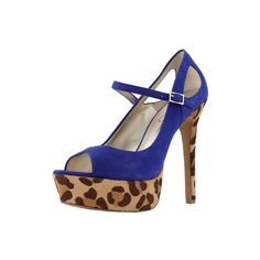 Jessica Simpson Heels Electric Blue Suede High Heel with Leopard Print Platform and Heel - StyleCaster