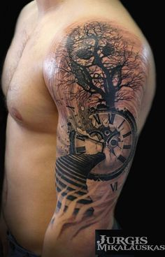 Cool tree/ clock tattoo