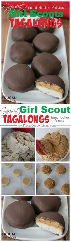 Copycat Girl Scouts Tagalongs Cookie Recipe - Peanut Butter, Chocolate, and Cookie. Details and Tutorial on Frugal Coupon Living. Enjoy these cookies year-round. Copycat Recipe. Copycat Girl Scouts Recipe. Cookie Recipe. Girl Scouts DIY. Girl Scouts Ideas.