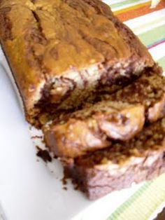 nutella banana bread...you have to swirl it a lot...i didn't and had chunks of nutella which made the bread kinda fall apart.