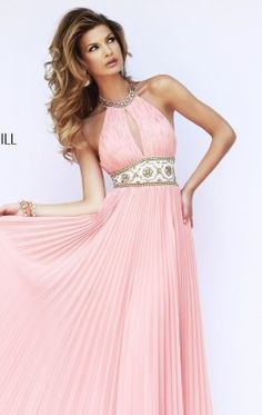 Pleated Halter Neck Gown by Sherri Hill 11251