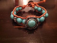 Turquoise and silver glass beaded leather by TheSisters3Boutique, $23.00