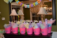My Little Pony Party Favors (Rainbow Dash painted on reusable containers)