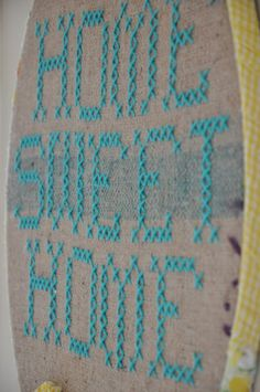 """Home sweet home"" giant cross stitch embroidery hoop art"