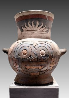 Pic 1: Ceremonial vessel from Tenochtitlan, the Aztec capital city. Made c. 1470, it shows the face of the rain god Tlaloc. Museum of the Templo Mayor (Great Temple)