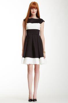 stretch cotton colorblock fit and flare dress Kate Spade 170$