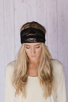 BLACK Lace Headband Stretchy Wide Lace Turband by ThreeBirdNest, $16.99