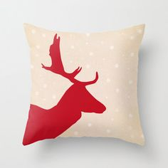 Oh Deer decorative pillow cover- Christmas- holidays- red- nature- silhouette- deer- snow-modern-home decor