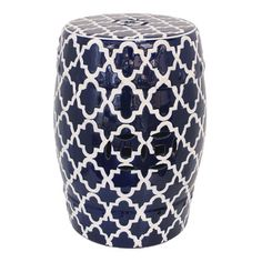 Istanbul Decorator Stool | Blue & White | 33x45cm | Home in the Hamptons @ The Home