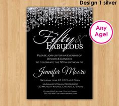 50th Birthday Invitation - Make their Golden Birthday even more special with this unique invitation with highlights in gold or silver glitter!! This listing is for one digital invitation personalized with your event details. You will receive a printable JPG file via email, no physical items will be shipped. You will be responsible for the printing of your invitations.  ★ Receive 1 high resolution Photo Invitation (JPEG file) via email or convo for printing. Can be printed on photo paper or…