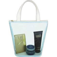Contrast color transparent tote bag with roomy compartment and full length zipper closure. Clear compartment makes it easy to view contents.