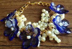 Blue ivory gold flowers bracelet/ Chain bracelet/ от ElenaVorobey