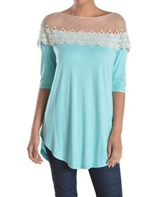 Love this Mint Lace Off-Shoulder Tunic - Women on #zulily! #zulilyfinds