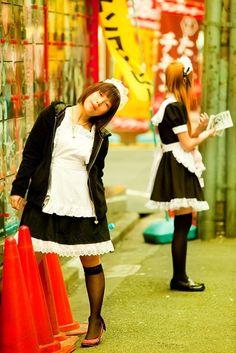 Harajuku street fashion | Tokyo maid girls ... actually will see them more in Akihabara than any place else, but it's still a harajuku original inspiration