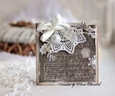 Christmas Cards for Maja Design - prima doily chrochet Create Christmas Cards, Christmas Card Crafts, Xmas Cards, All Things Christmas, Handmade Christmas, Holiday Cards, Scrapbooking, Scrapbook Cards, Xmas Theme