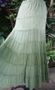 c160f629c33f SALE was 24.00 / Green layered tie dye skirt / India hippie boho silver  thread / silver string skirt / sparkle skirt / hippie twirling skirt