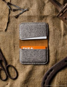 Leather Orange Business and credit Card Holder Wool Felt Handmade