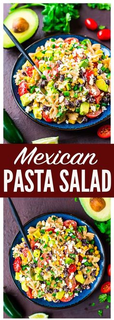 Creamy Mexican Pasta Salad with corn, black beans, avocado, and a delicious Greek yogurt dressing made with chili and lime juice. Easy, healthy, and always a favorite! Perfect for picnics, potlucks, or a light summer dinner. Recipe at wellplated.com | @wellplated