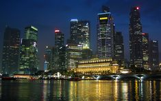 Download wallpapers Marina Bay, Singapore, 4k, modern buildings, nightscapes, skyscrapers, Asia