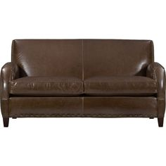 Crate & Barrel Metropole Leather Loveseat - Vintage ($3,499) ❤ liked on Polyvore featuring home, furniture, sofas, vintage couch, chocolate leather sofa, vintage loveseat, vintage leather couch and dark brown leather sofa