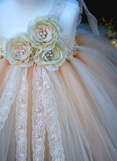 Ivory Vintage Lace Pearls Flower Girl Tutu Dress