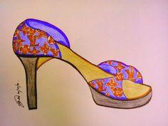 Lv shoe illustration Shoe Illustration, Fashion Communication, Lv Shoes, Art Forms, Image, Design