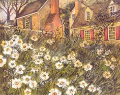 Cottages & Daisy Garden Susan Winget Card