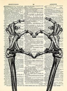 Skeleton Hands shaping Heart Poster Cool Love Art Print on Skeleton Art, Skeleton Hands, Skeleton Love, Arte Com Grey's Anatomy, Look Wallpaper, Hand Sticker, Heart Poster, Book Page Art, Poster Prints