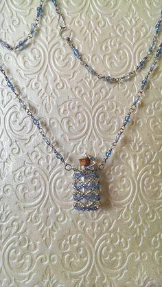 Blue & Silver Beaded Bottle Necklace Summer Sky by Elvarinya