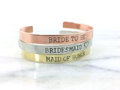 maid of honor gift custom bracelet cuff stamped by BlockandHammer
