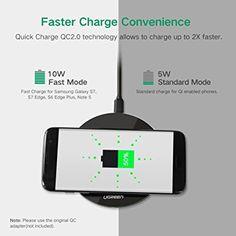 UGREEN Caricabatterie Wireless QI, QC 2.0 Caricatore senza Fili Ricarica Rapida per Samsung Note5, S6 Edge+, S7 y S7 Edge etc.: Amazon.it: Elettronica