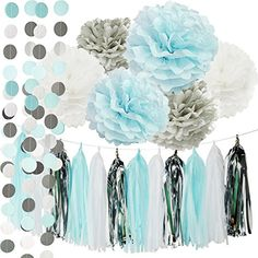 Blue grey white elephant baby shower decorations Party Kit Package List: 6 pcs tissue paper flowers:2 pcs baby blue(1*12inch+1*10inch)+2 pcs white(1*12inch+1*10inch)+2 pcs Grey Tissue Paper Pom Poms(1* 12inch+1*10inch);  1 pack of baby blue white silver mixed color tissue paper tassel with one white ribbon and using instruction,totally 12 sheets,each color comes with 4 pcs...
