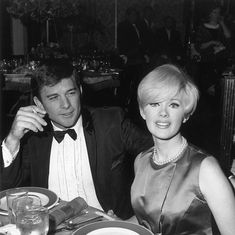 American actor and singer Connie Stevens and her husband actor James Stacy sitting at a dining table at the premiere of director Russell Rouse's film. James Stacy, Old Movie Stars, Classic Movie Stars, Vintage Hollywood, Classic Hollywood, Hollywood Glamour, Hollywood Stars, Celebrity Couples, Celebrity Pictures