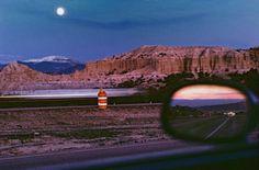 thomas hoepker, new mexico, usa, 1985. moonrise along the albuquerque/santa fe highway.