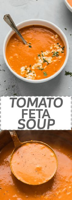Easy Tomato Feta Soup Recipe - Low Calorie, Low Carb, Keto - simple to make with just a few simple basic ingredients. Creamy tomato soup with basil and rich, savory feta cheese. Ready on 30 minutes on the stove top. #tomatosoup #souprecipes #feta #tomatofetasoup via @cookinglsl