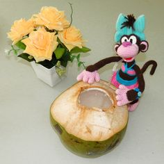 Amigurumi Monkey Trip. Coconut.Tasty.Thailand Phuket Travelling. Crochet pattern is available
