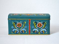 Vintage Norwegian Tin Box Decorated with Floral by MidModMomStore, $11.00