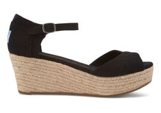 #TOMS Give Back To School Contest  Black Linen  Linen Women's Platform Wedges