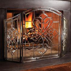 Victoria Beveled-Glass Fireplace Screen | Fireplaces, Glass ...