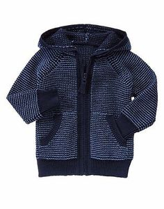 GYMBOREE Baby Boy Navy Full Zip Hooded Sweater Knit Hoodie Size 6-12M 18-24M NWT