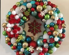 Playful Christmas Wreath by glitterNshineCrafts on Etsy